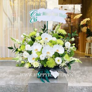 HỘP HOA GREEN FLOWER MIX WHITE ORCHID