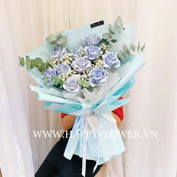 SKY BLUE 10B MIX BABY VÀ LÁ BẠC (giấy xanh blue)