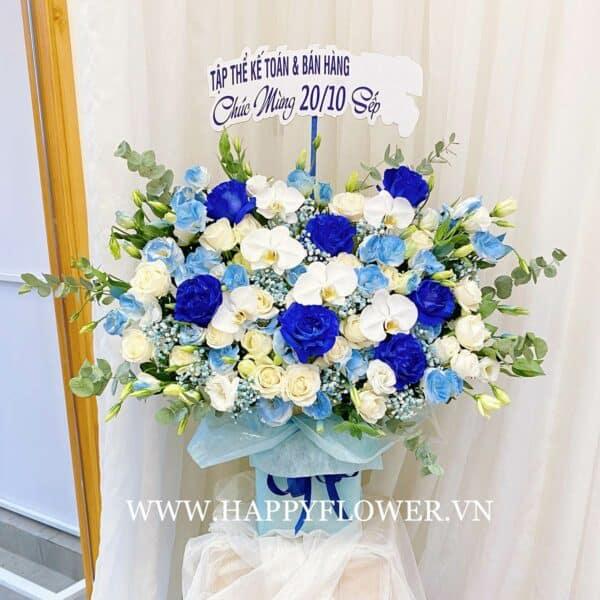 HỘP HOA CAO BLUE ECUADOR MIX WHITE ORCHID