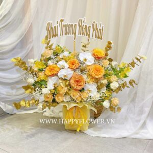 HỘP HOA CAO FREE SPIRIT MIX WHITE ORCHID & GOLD LEAF