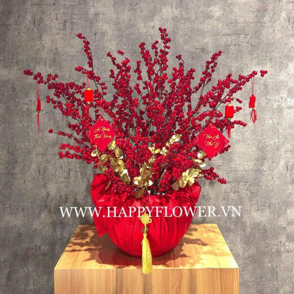CHẬU ĐÀO ĐÔNG TẾT (hoa giả, trang trí LUXURY vải đỏ)