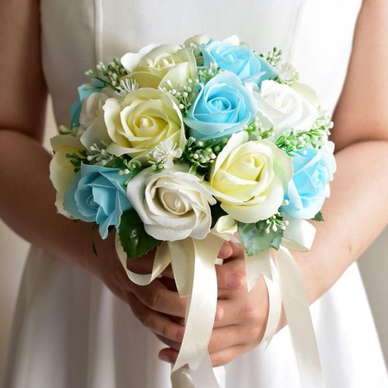 bó hoa cưới cầm tay handmade hồng xanh