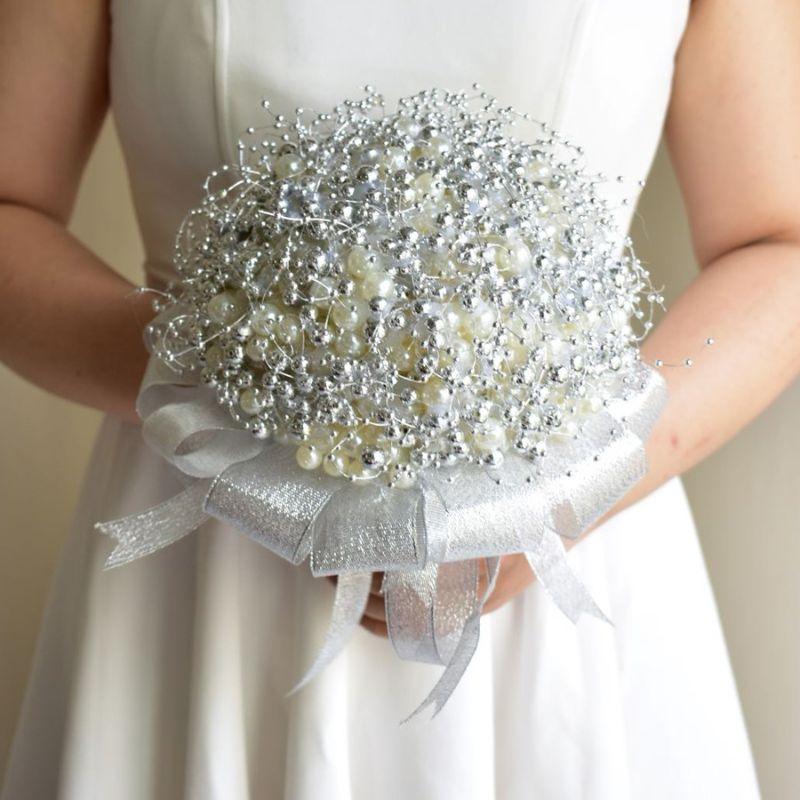 tự bó hoa cưới cầm tay bằng hạt cườm