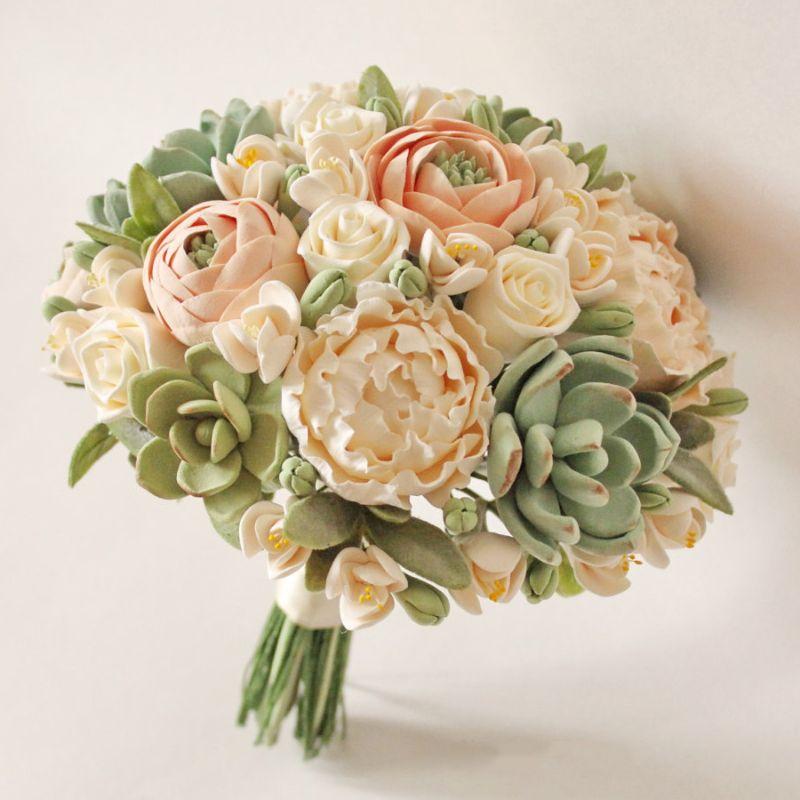 bó hoa cưới sen đá