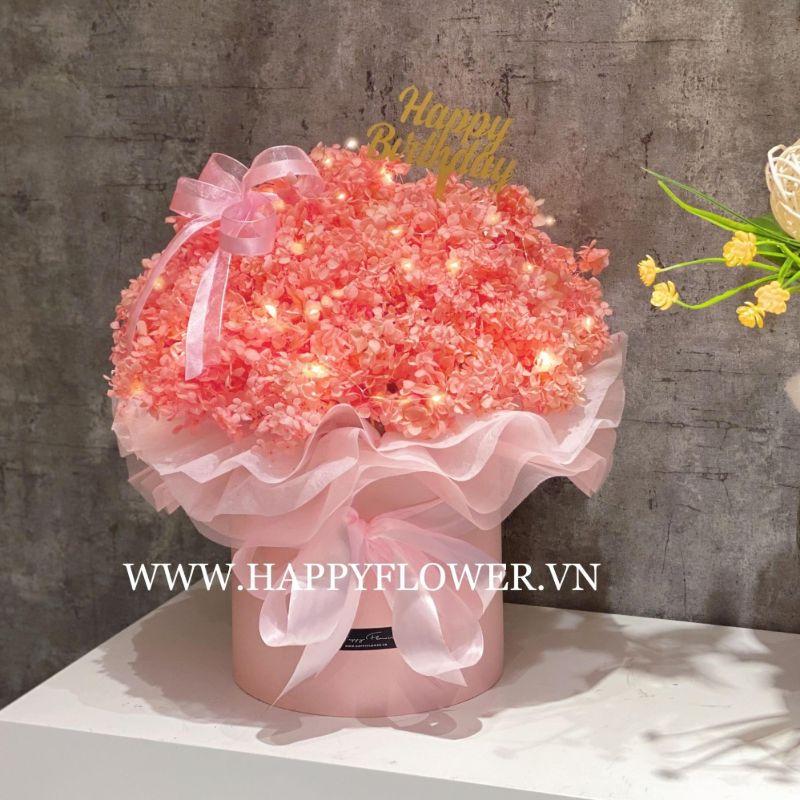 hộp hoa baby màu hồng