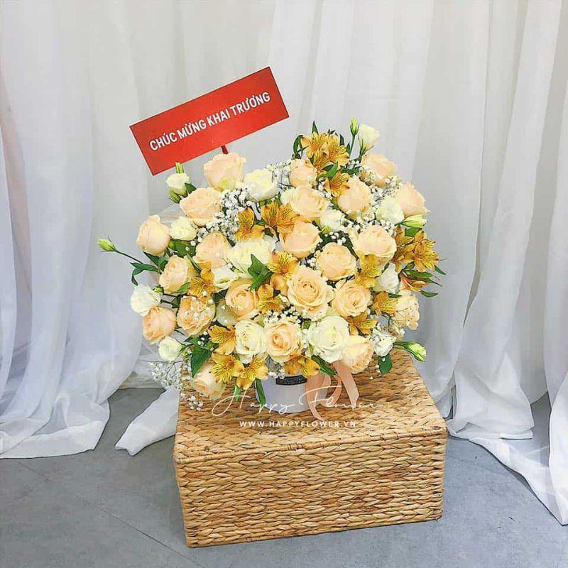 giỏ hoa hồng vàng