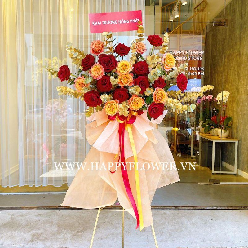 lẵng hoa chúc mừng hoa hồng đỏ ecuador