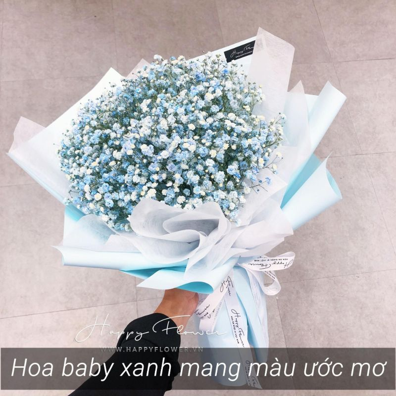 bó hoa baby xanh
