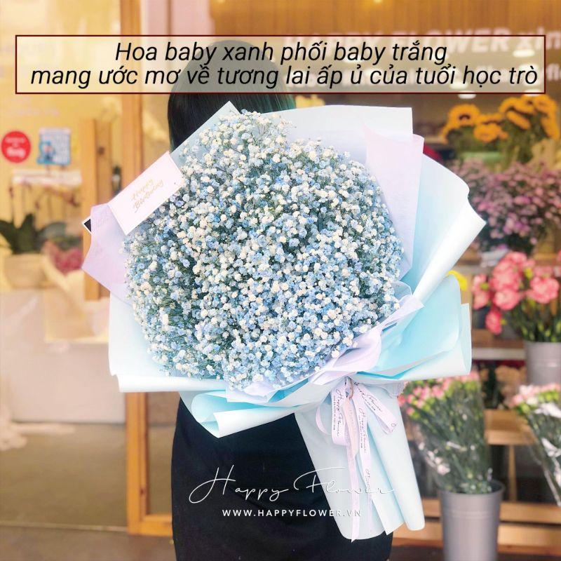 bó hoa baby xanh lớn