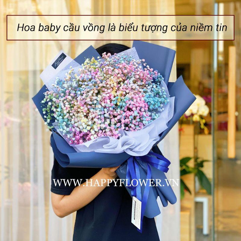 bó hoa baby cầu vồng
