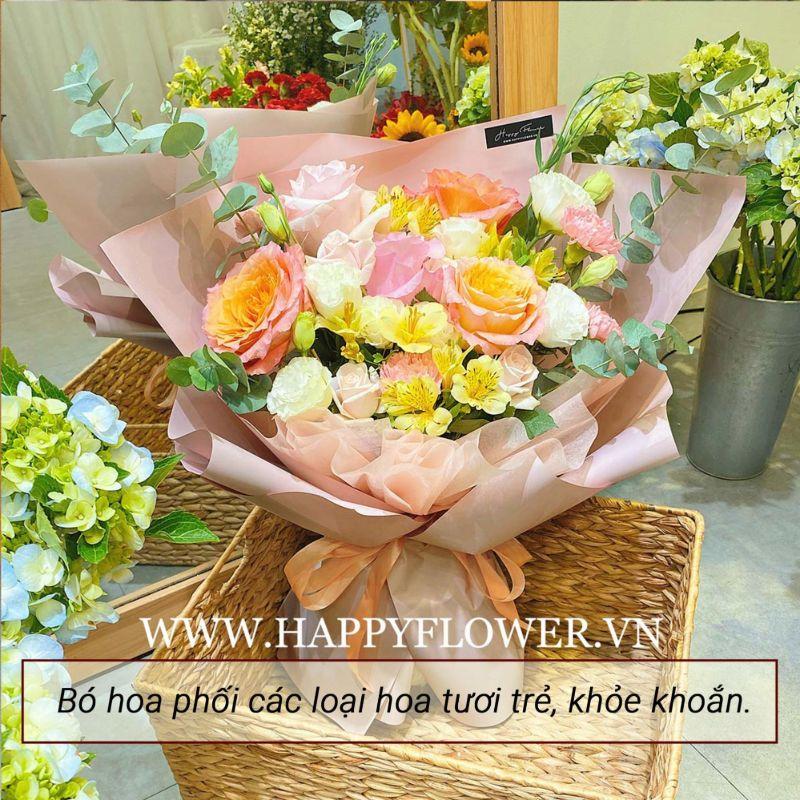 bó hoa hồng mix nhiều loại