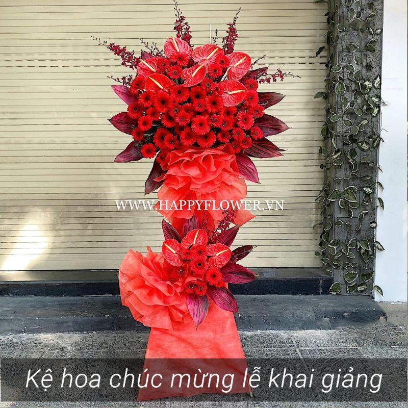 kệ hoa màu đỏ 2 tầng