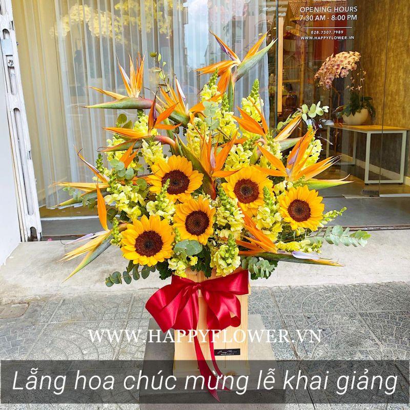 kệ hoa hướng dương mix nhiều loại hoa