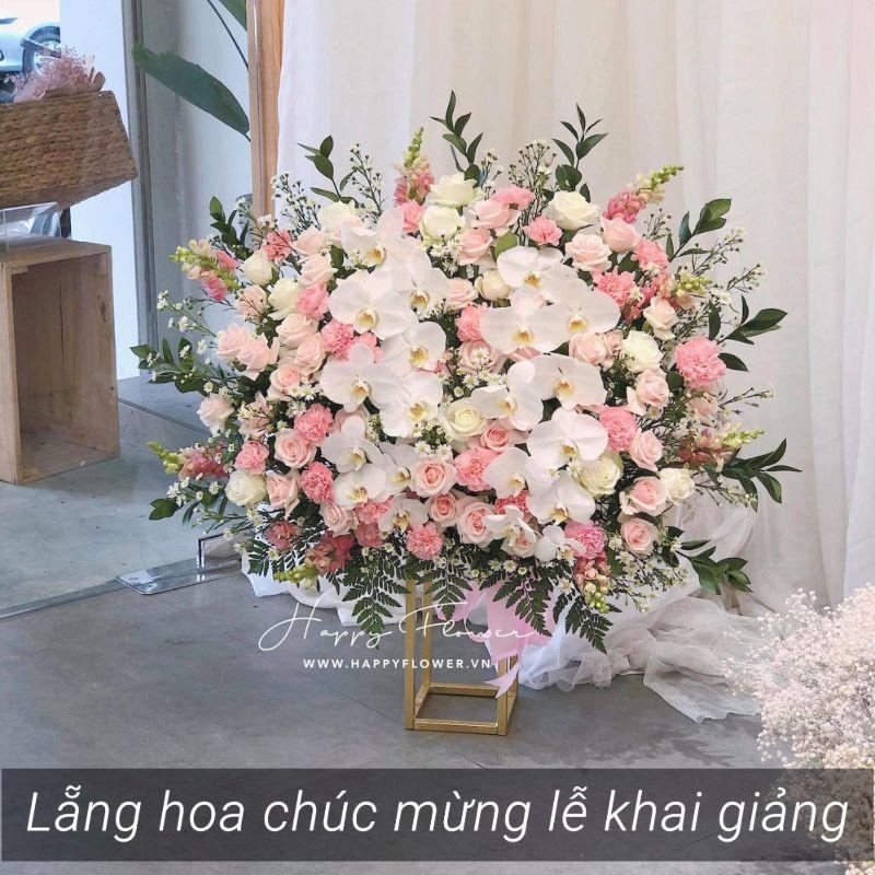 kệ hoa hồng mix hoa lan trắng