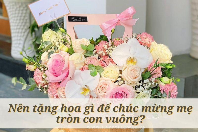 giỏ hoa hồng mix nhiều loại