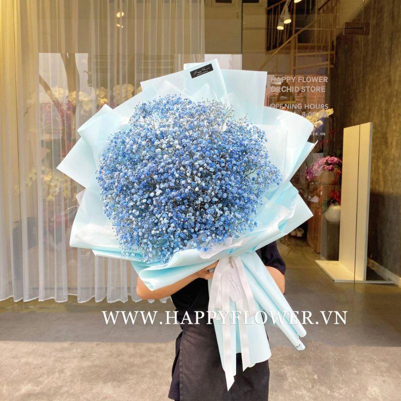 bó hoa baby xanh dương