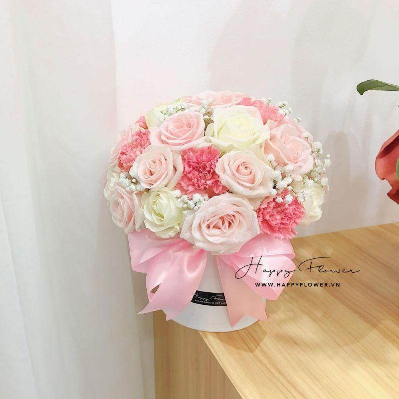 chậu hoa chúc mừng màu hồng ngọt ngào