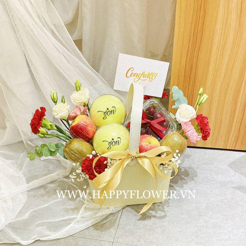 Giỏ hoa bằng kẹo bông gòn mix trái cây