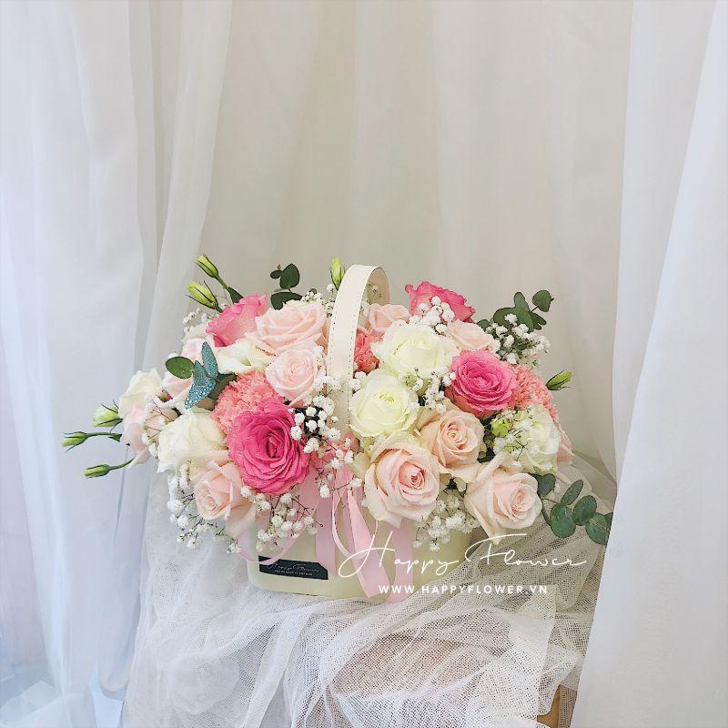 giỏ hoa hồng tươi tắn