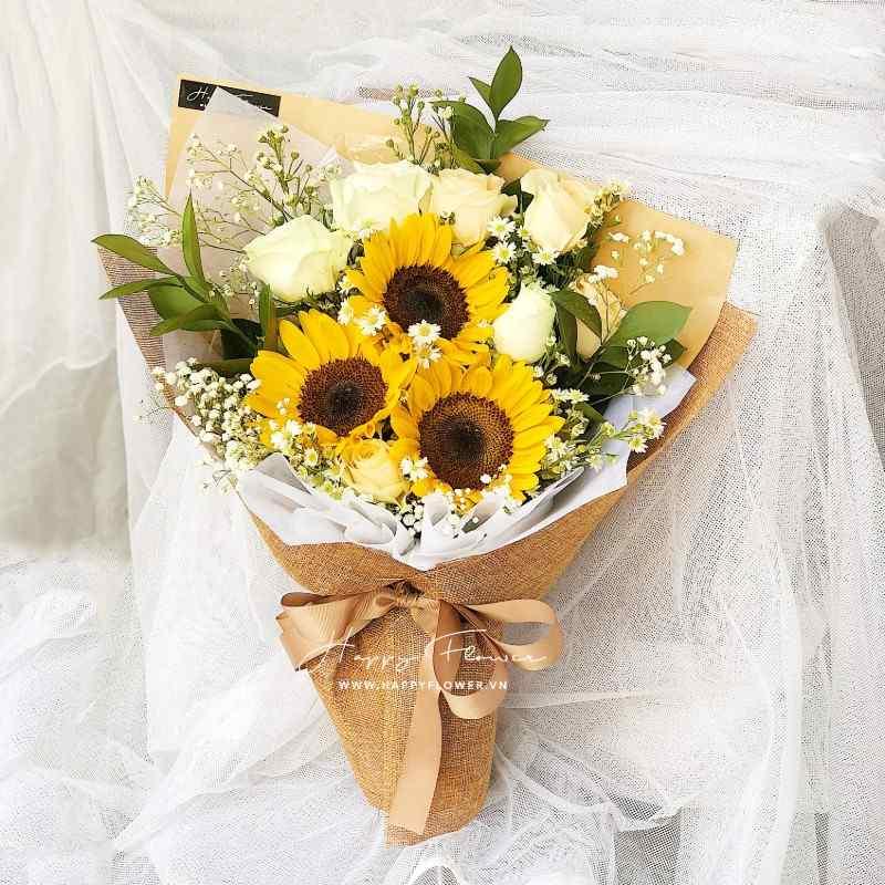 bó hoa hướng dương kết hợp hoa hồng trắng