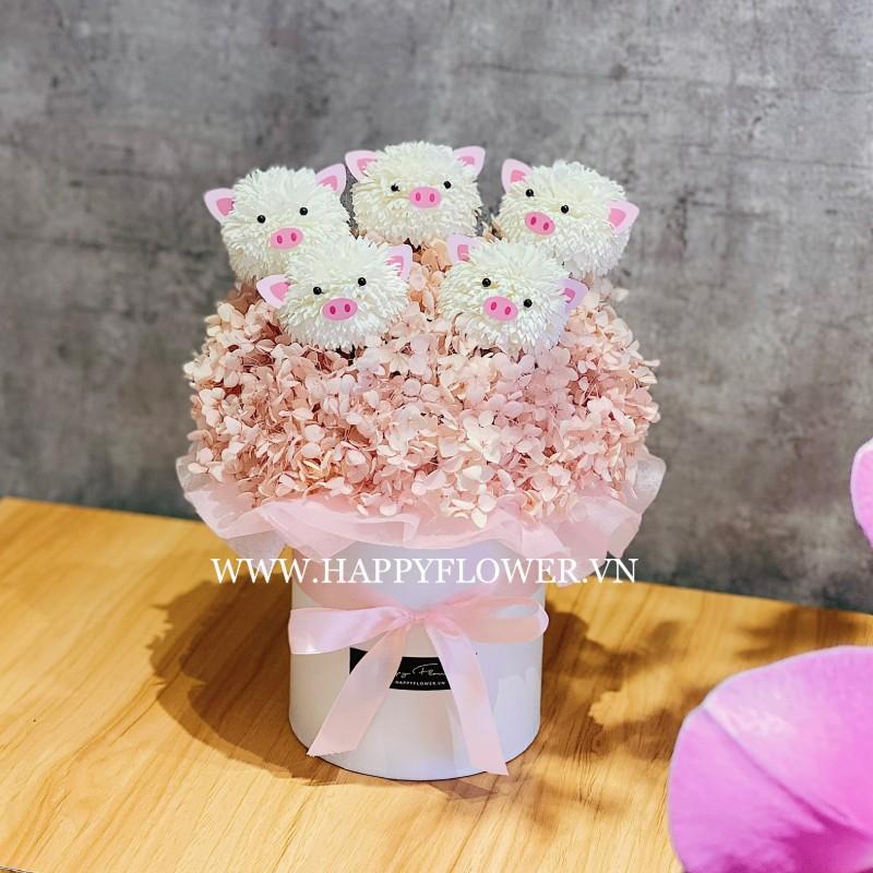 hộp hoa chúc mừng bằng hoa baby dễ thương