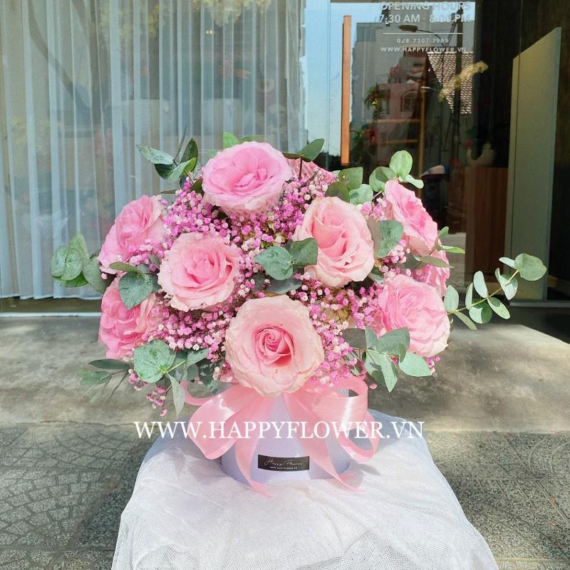 chậu hoa chúc mừng bằng hoa hồng