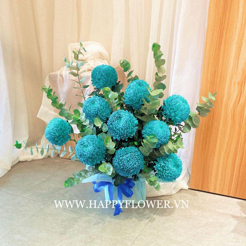 giỏ hoa cúc mẫu đơn xanh dương