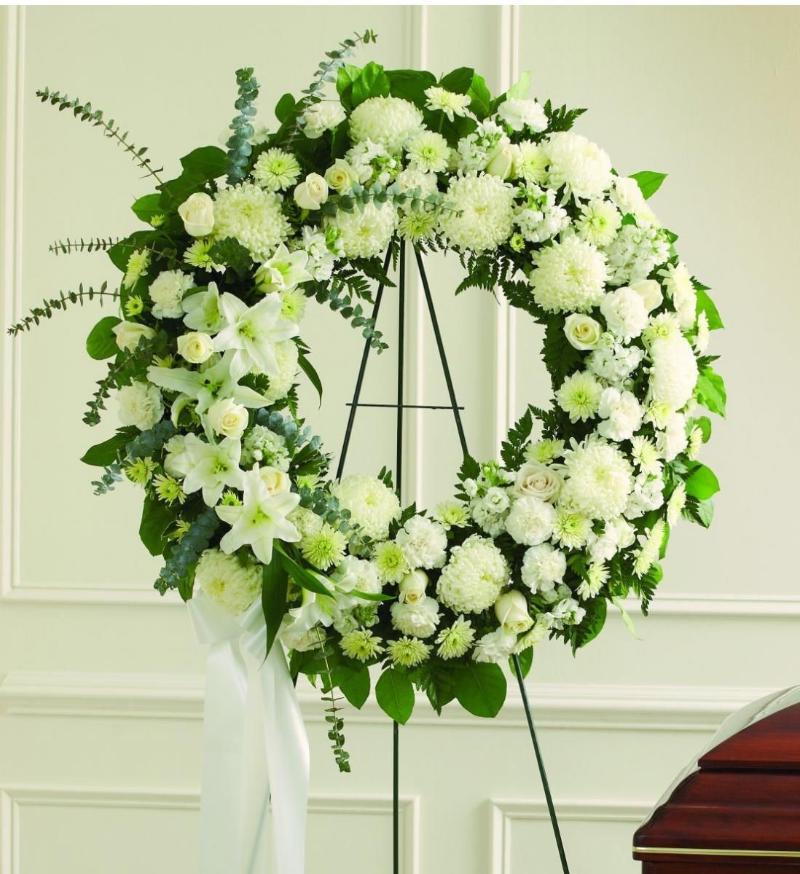 vòng hoa chia buồn đám tang hình tròn