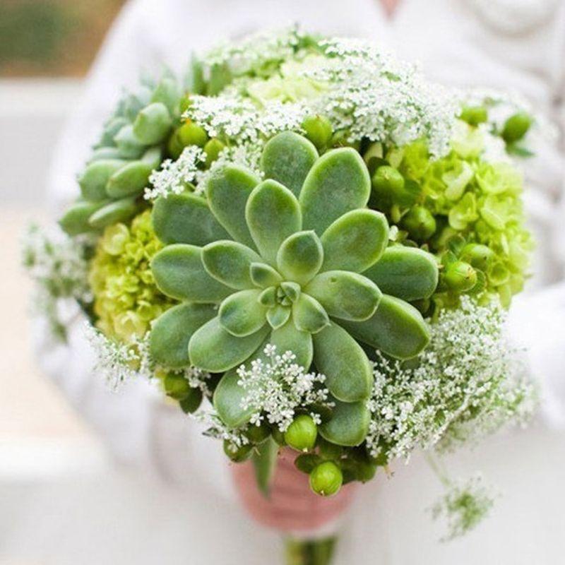 hoa cưới cẩm tú cầu mix sen đá