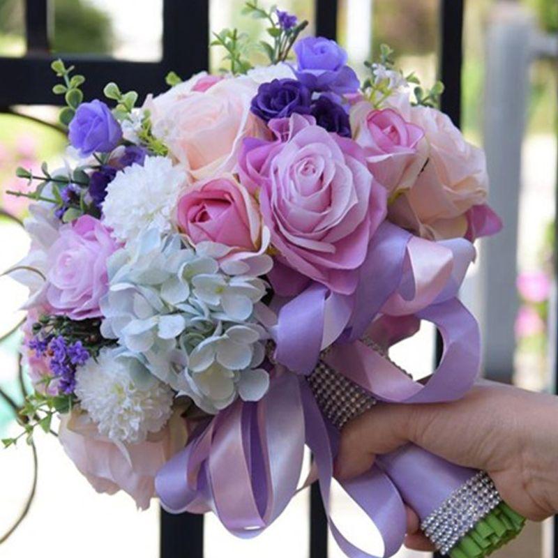 bó hoa cưới cẩm tú cầu hồng tím