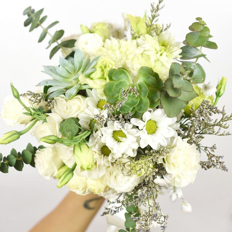 bó hoa sen cưới kết hợp nhiều loại