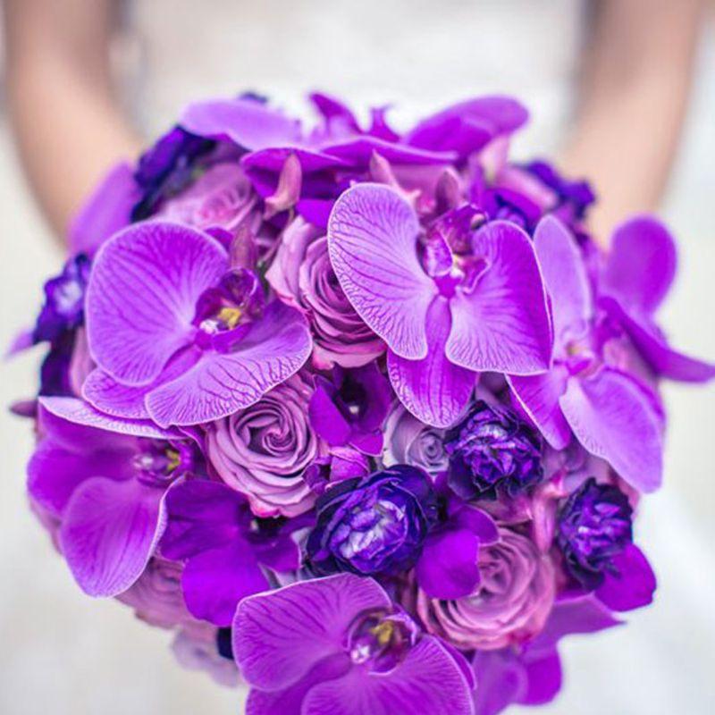 bó hoa cưới lan hồ điệp tím