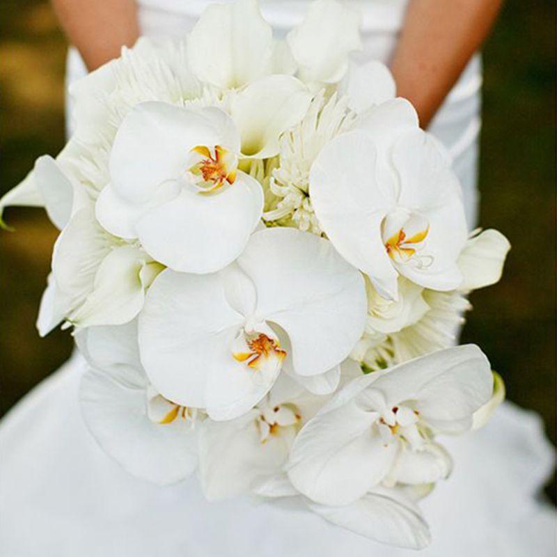 hoa cầm tay cô dâu lan hồ điệp mix loa kèn trắng