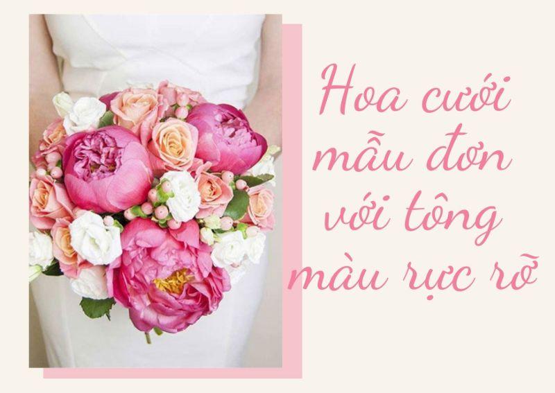 hoa cưới mẫu đơn mix hoa hồng