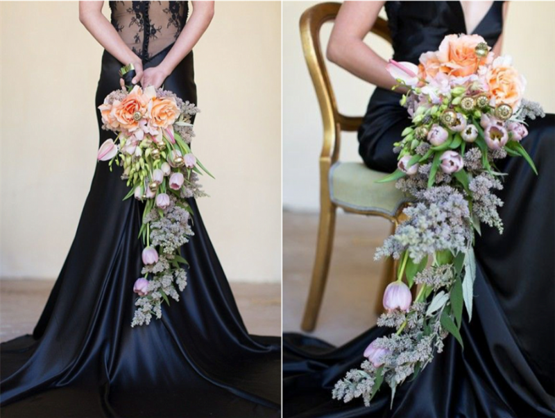 hoa cưới cầm tay dáng dài mang phong cách Á Âu