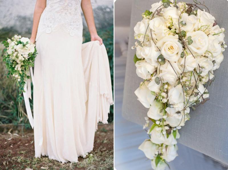 hoa cưới cầm tay dạng thác nước kết bằng hoa hồng trắng
