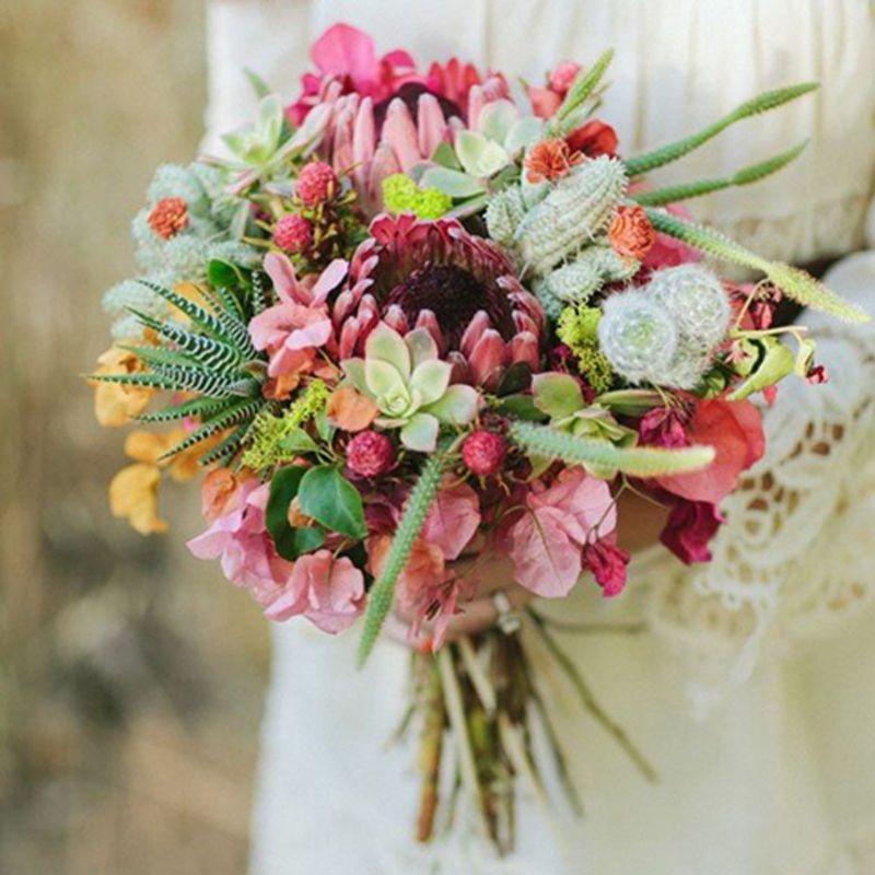bó hoa cưới từ sen đá