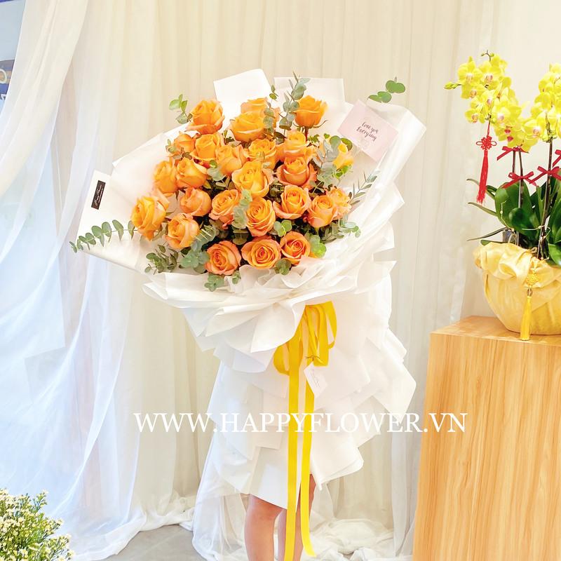 Bó hoa cưới màu cam hoa hồng Coral Reef size lớn