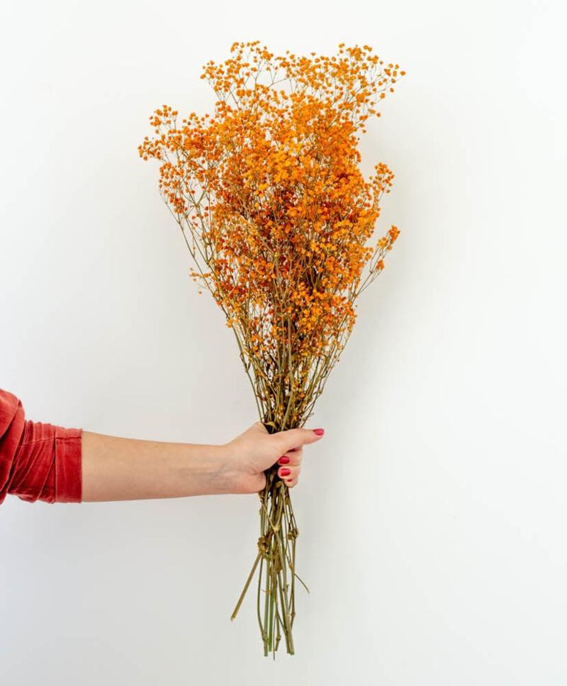 Bó hoa cưới màu cam hoa baby cam khô