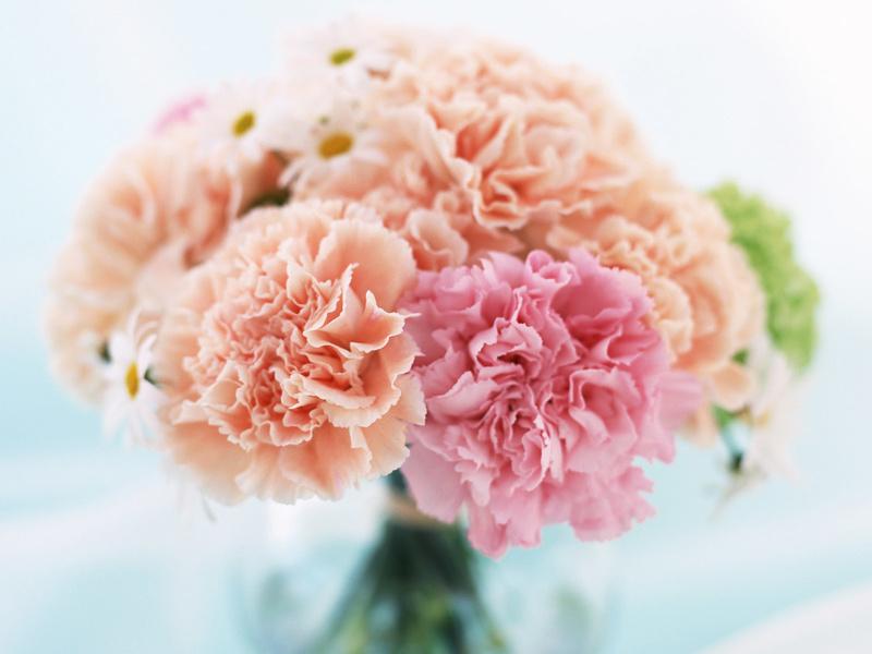 Bó hoa cưới cát tường màu cam nhạt và màu hồng