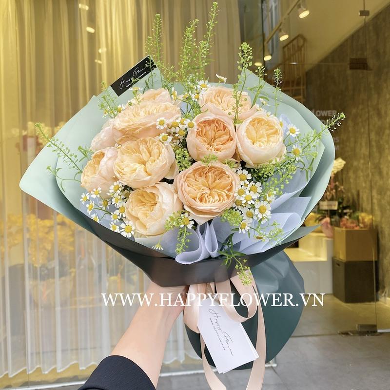 bó hoa cưới Juliet mười bông màu cam hiện đại, sang trọng