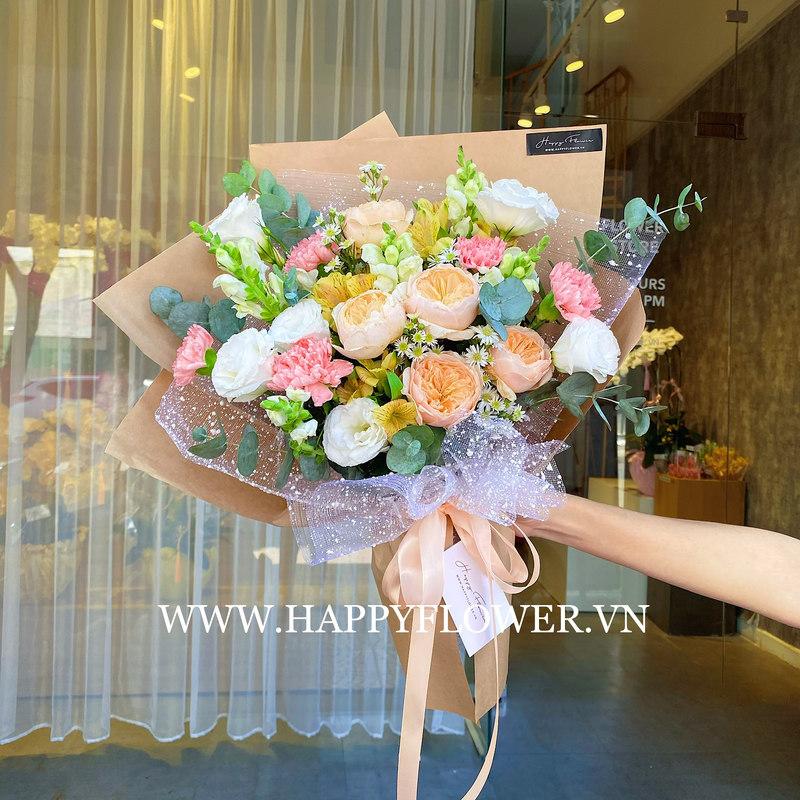Bó hoa cưới màu cam mix các loại hoa màu khác