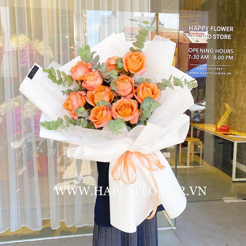 Bó hoa cưới màu cam hoa hồng nhập khẩu rực rỡ
