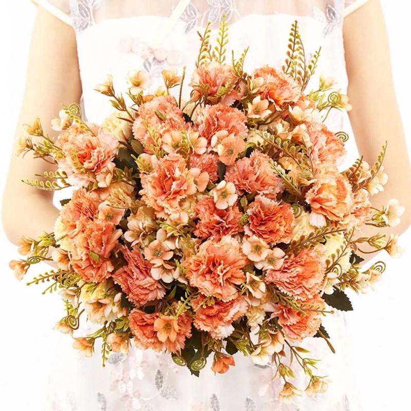 Bó hoa cưới màu cam san hô cực đẹp