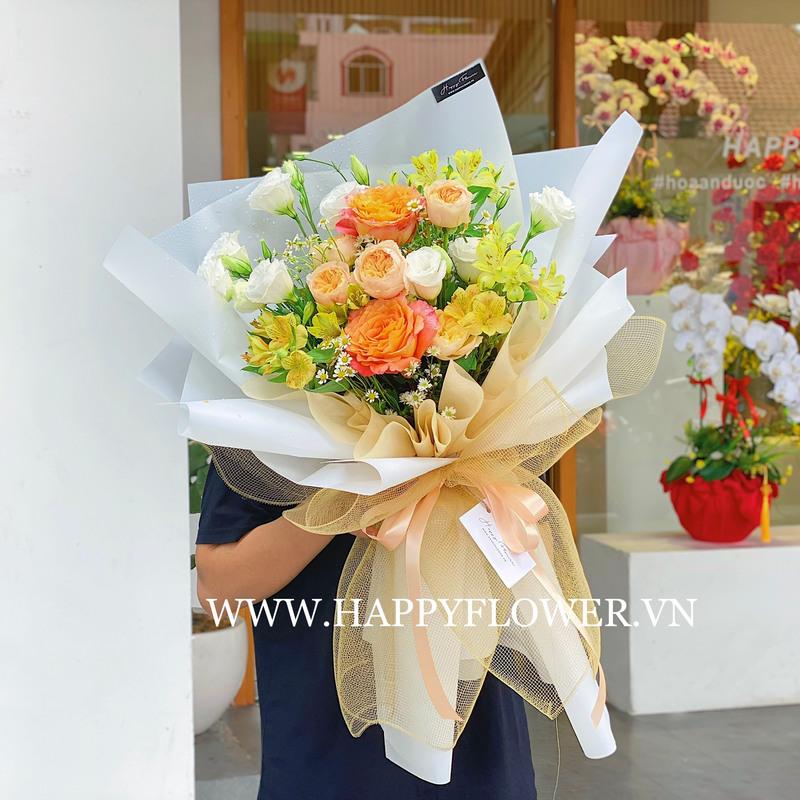 Bó hoa cưới màu cam hoa hỗng mix hoa cẩm chướng
