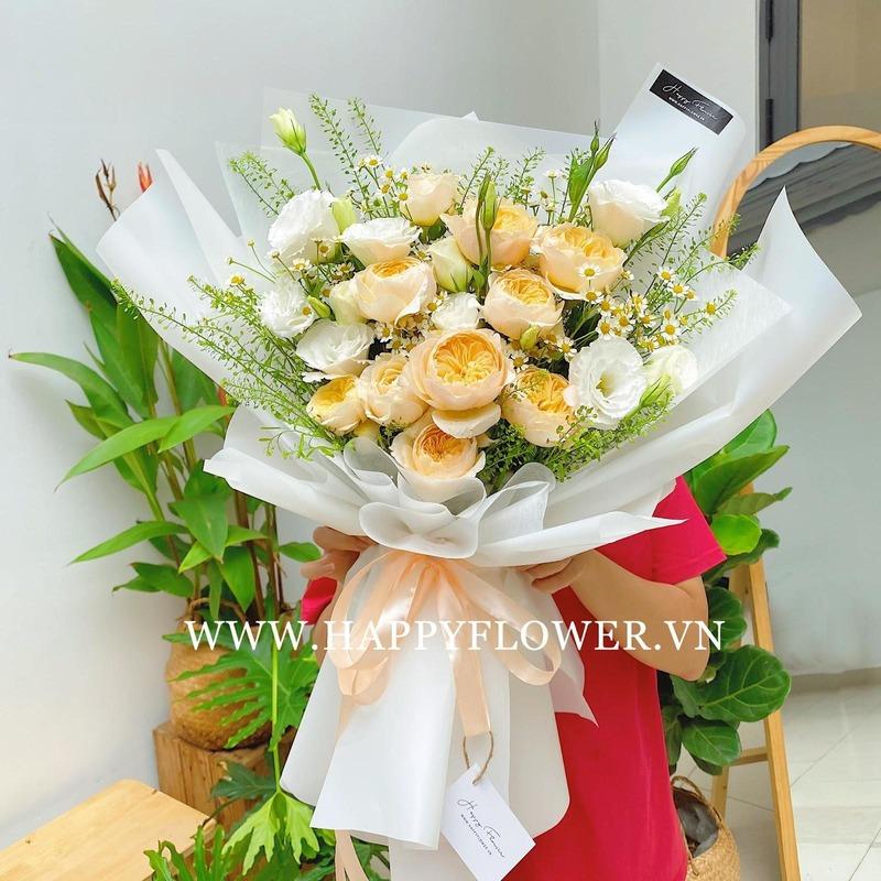 Bó hoa cưới hoa hồng Juliet cam nhẹ nhàng