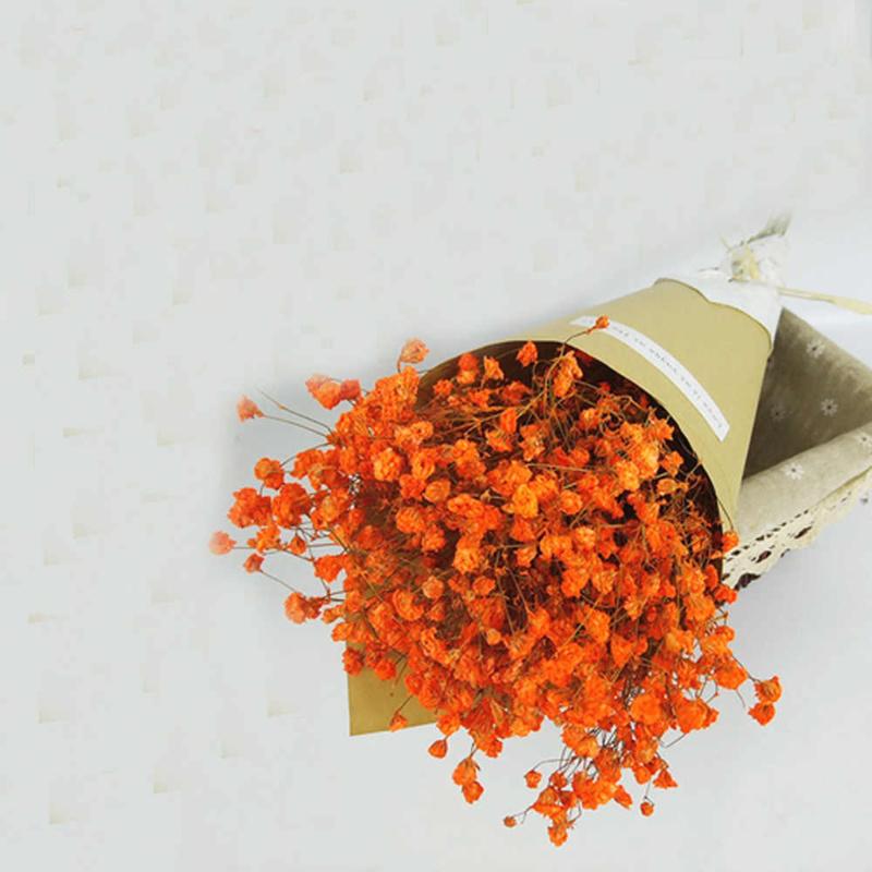 Bó hoa cưới màu cam hoa baby cam đơn giản