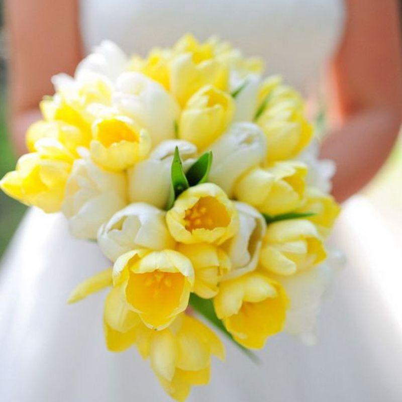 bó hoa tulip vàng mix trắng