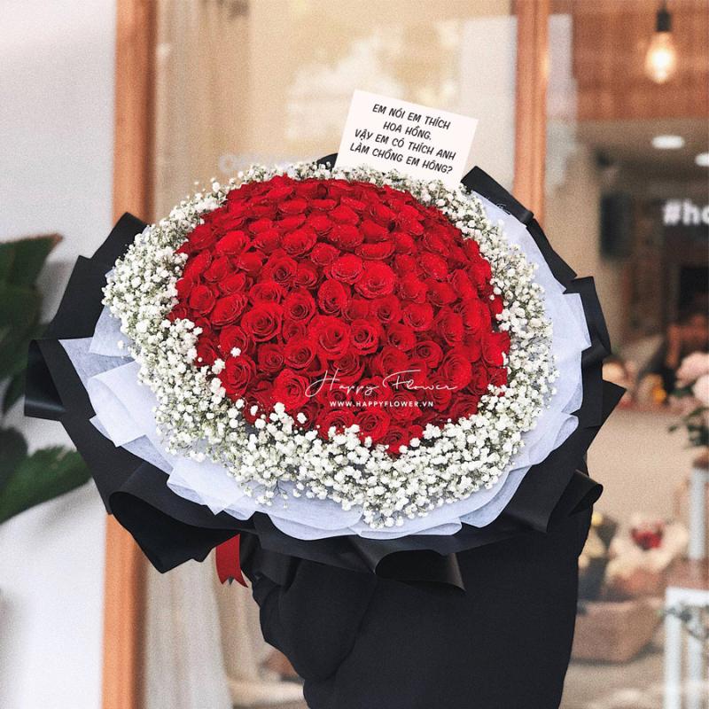 bó hoa hồng đỏ 100 bông mix hoa baby