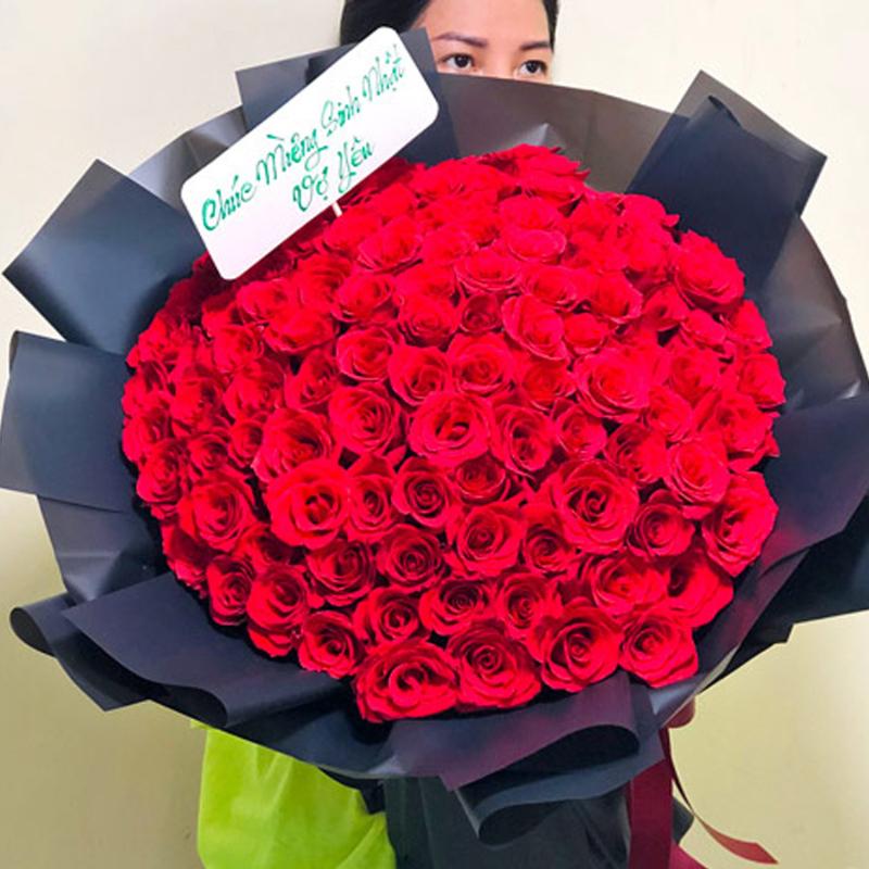 bó hoa hồng đỏ ngọt ngào tặng vợ yêu